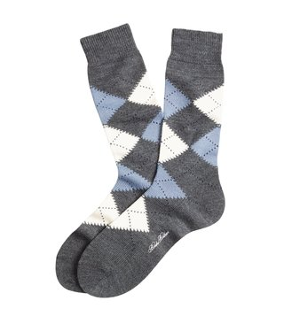 Brooks Brothers Grey Argyle Crew Socks