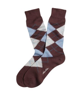 Brooks Brothers Maroon Argyle Crew Socks
