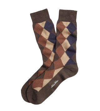 Brooks Brothers Brown Solid with Argyle Crew Socks