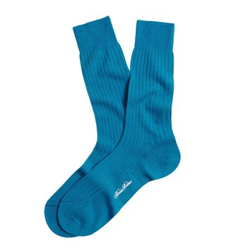 Brooks Brothers Blue Ribbed Crew Socks