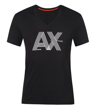 Armani Exchange Jet Black Ribbon Logo V-Neck T-Shirt