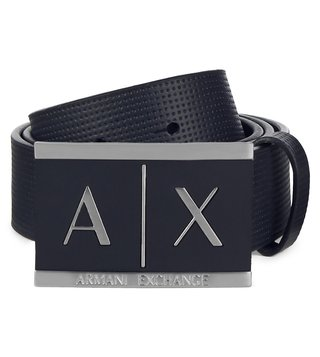 Armani Exchange Navy Inlay Logo Belt