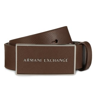 Armani Exchange Brown Logo Plaque Belt