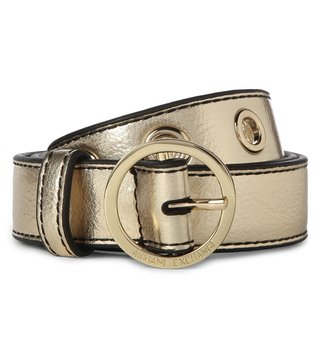 Armani Exchange Oro Round Buckle Skinny Belt