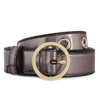 Armani Exchange Gunmetal Round Buckle Skinny Belt
