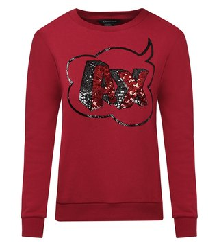 Armani Exchange Royal Red Embellished Sweatshirt