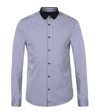 Armani Exchange Blue Fill Coupe' Rhu Full Sleeves Shirt