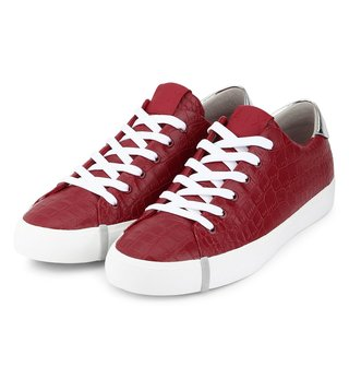 Armani Exchange Red Rosso Embossed Croc Metallic Sneakers