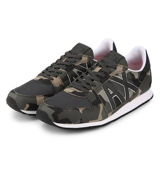 Armani Exchange Multicolored Retro Camouflage Logo Sneakers
