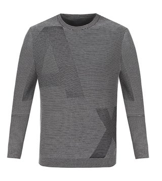 Armani Exchange Black & Alloy Stripe Optical Pullover