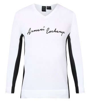 Armani Exchange White Color Block Signature V Neck Pullover