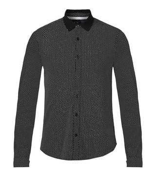 Armani Exchange Black Mini Print Contrast Collar Shirt