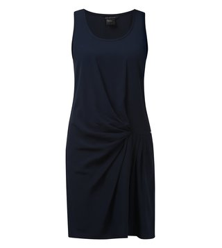 Armani Exchange Navy Asymmetrical Cinch Waist Dress