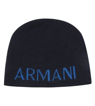 Armani Exchange Sky Captain Knit Logo Print Beanie