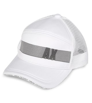 Armani Exchange Bianco Strikethrough Logo Print Baseball Cap