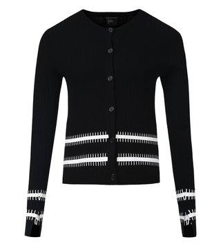 Armani Exchange Black Bicolor Stitched Stripe Cardigan