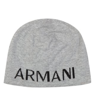 Armani Exchange Alloy Heather Bc06 Knit Logo Print Beanie