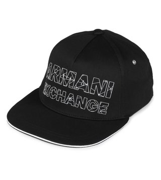 Armani Exchange Nero Refracted Logo Print Baseball Cap