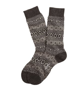 Brooks Brothers Charcoal Cashmere Fair Isle Crew Socks