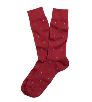 Brooks Brothers Red Fleece Red Holiday Light Pattern Socks