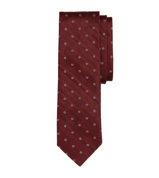 Brooks Brothers Red Fleece Burgundy Paisley & Floral Tie