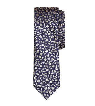 Brooks Brothers Red Fleece Navy Floral Silk Jacquard Tie