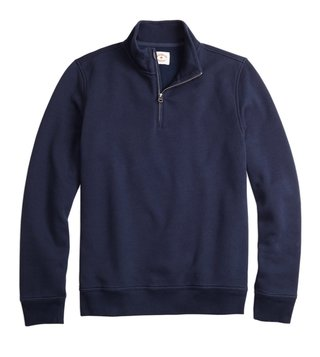 Brooks Brothers Red Fleece Navy Half Zip Pique Sweatshirt