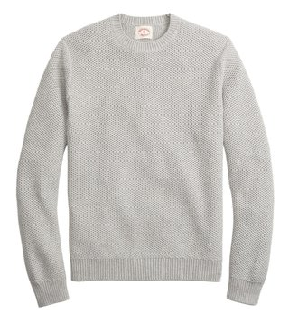Brooks Brothers Red Fleece Grey Honeycomb-Knit Sweater