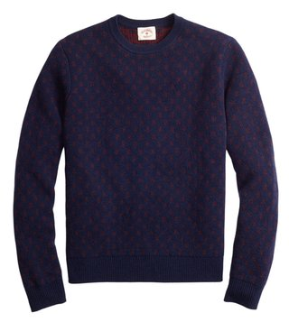 Brooks Brothers Red Fleece Navy Foulard Jacquard Sweater