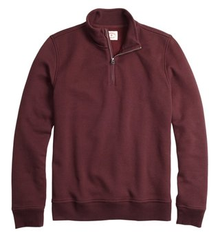 Brooks Brothers Red Fleece Burgundy Half Zip Sweatshirt