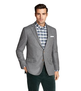Brooks Brothers Grey Regent Fit Wool and Cashmere Sport Coat