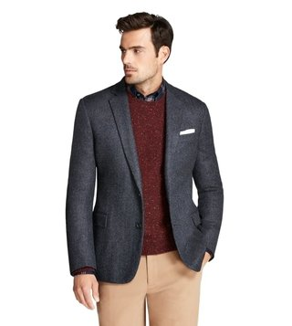 Brooks Brothers Blue Regent Fit Herringbone Sport Coat