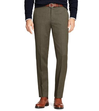 Brooks Brothers Olive Regent Fit Whipcord Wool Trousers