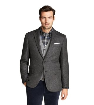 Brooks Brothers Grey Regent Fit Herringbone Sport Coat