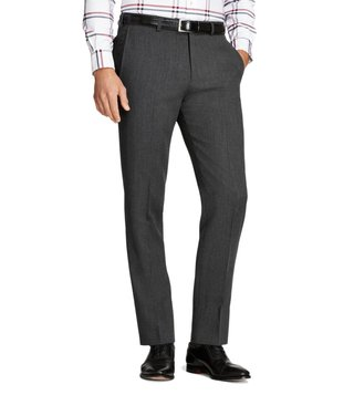 Brooks Brothers Grey Regent Fit Whipcord Wool Trousers