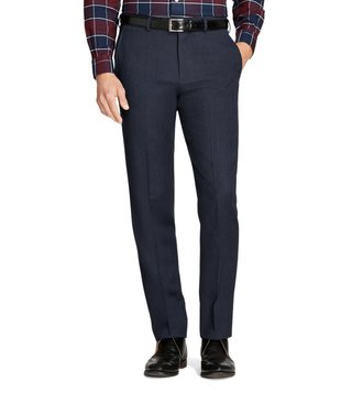 Brooks Brothers Navy Regent Fit Whipcord Wool Trousers