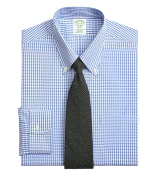Brooks Brothers Blue NI Milano Dobby Gingham Dress Shirt