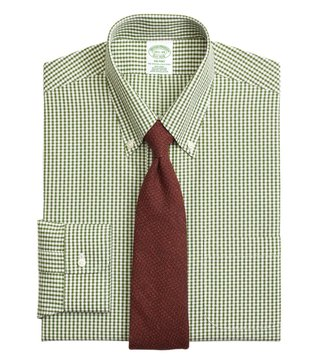 Brooks Brothers Green NI Milano Dobby Gingham Dress Shirt