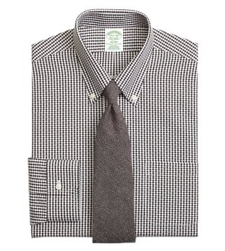 Brooks Brothers Black NI Milano Dobby Gingham Dress Shirt