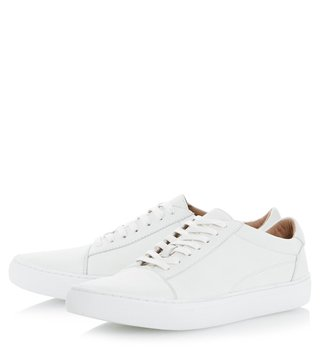 Dune London White-Leather Tyler Sneaker