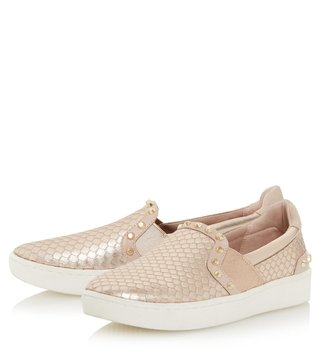 Dune London Rose Gold Leather Edit Slip On Sneakers