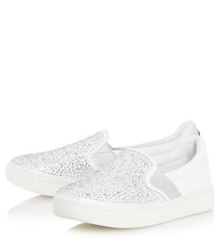 Dune London White Eilish Slip On Sneakers