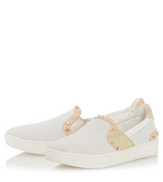 Dune London White Leather Edit Slip On Sneakers