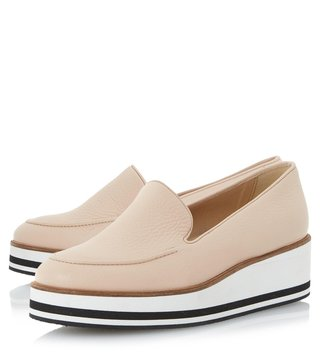 Dune London Nude Leather Genesis Loafers