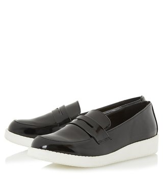 Dune London Black Synthetic Patent Glider Loafers
