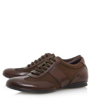 Dune London Brown-Leather Tobias Sneaker