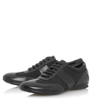 Dune London Black-Leather Tobias Sneaker