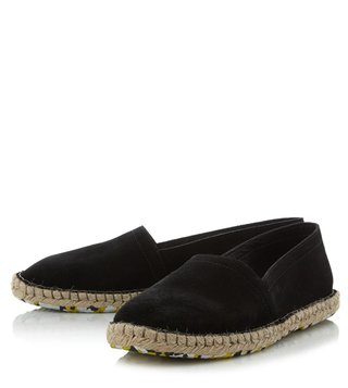 Dune London Black Suede Free Espadrille Shoes
