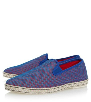 Dune London Blue Canvas Firecracker Espadrille Shoes