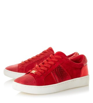 Dune London Red-Leather Egypt Sneaker